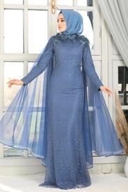 Tesettürlü Abiye Elbise - Pelerinli İndigo Mavisi Tesettür Abiye Elbise 7530IM - Thumbnail