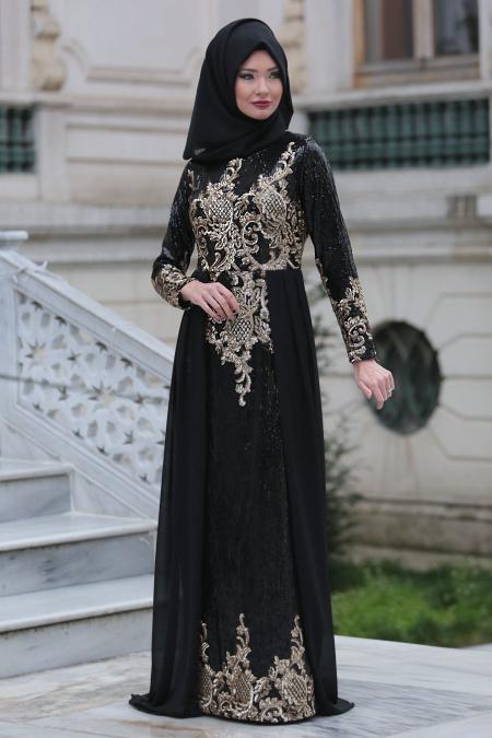 Tesettürlü Abiye Elbiseler - Pul Payet Detaylı Siyah Tesettür Abiye Elbise 6319S