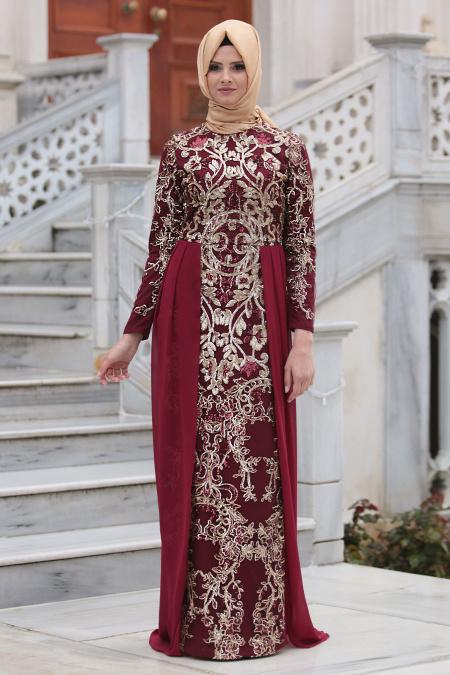 Tesettürlü Abiye Elbiseler - Pul Payet Nakışlı Bordo Tesettür Abiye Elbise 6320BR