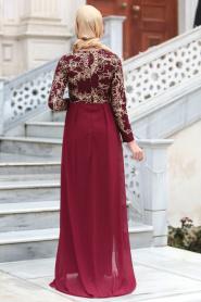 Tesettürlü Abiye Elbiseler - Pul Payet Nakışlı Bordo Tesettür Abiye Elbise 6320BR - Thumbnail