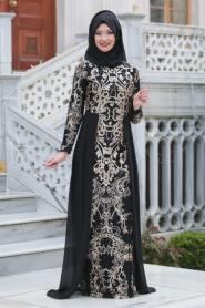 Tesettürlü Abiye Elbiseler - Pul Payet Nakışlı Siyah Tesettür Abiye Elbise 6320S - Thumbnail