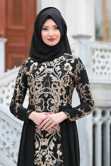 Tesettürlü Abiye Elbiseler - Pul Payet Nakışlı Siyah Tesettür Abiye Elbise 6320S