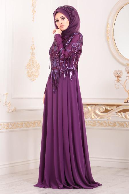 Tesettürlü Abiye Elbiseler - Püsküllü Mürdüm Tesettür Abiye Elbise 4591MU