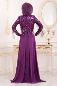 Tesettürlü Abiye Elbiseler - Püsküllü Mürdüm Tesettür Abiye Elbise 4591MU - Thumbnail