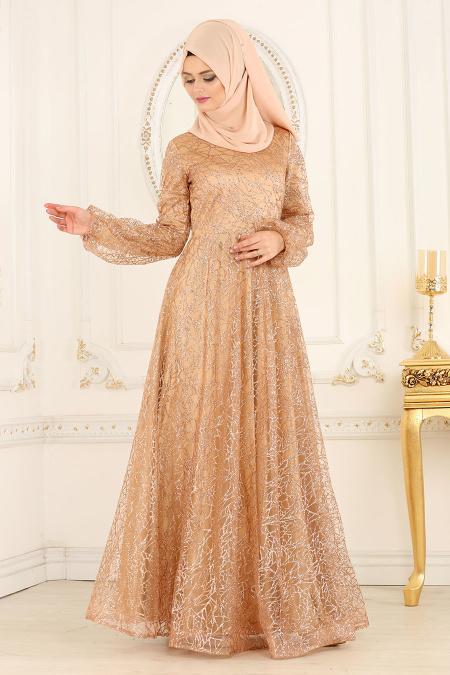 Tesettürlü Abiye Elbiseler - Simli Gold Tesettür Abiye Elbise 31480GOLD