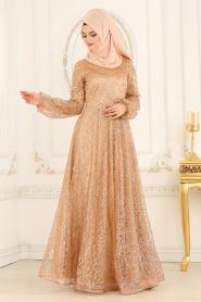 Tesettürlü Abiye Elbiseler - Simli Gold Tesettür Abiye Elbise 31480GOLD - Thumbnail