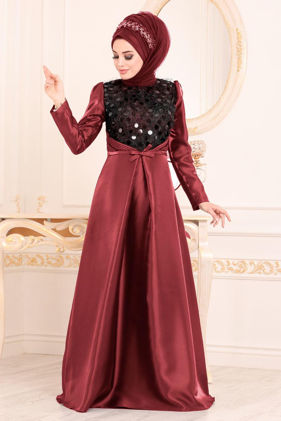 Tesettürlü Abiye Elbiseler - Tafta Bordo Tesettür Abiye Elbise 3755BR