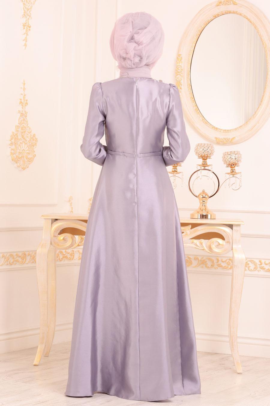 Tesettürlü Abiye Elbiseler - Tafta Lila Tesettür Abiye Elbise 3755LILA