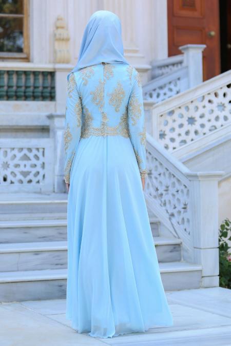 Tesettürlü Abiye Elbiseler - Üstü Dantel Detaylı Bebek Mavisi Abiye Elbise 76465BM