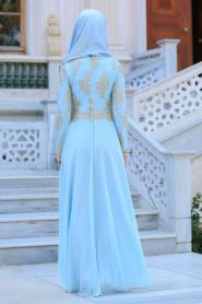 Tesettürlü Abiye Elbiseler - Üstü Dantel Detaylı Bebek Mavisi Abiye Elbise 76465BM - Thumbnail