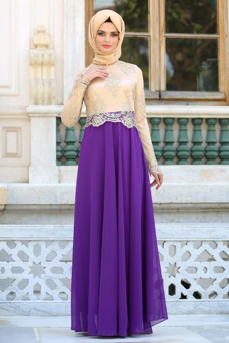 Tesettürlü Abiye Elbiseler - Üstü Dantel Detaylı Mor Abiye Elbise 76465MOR