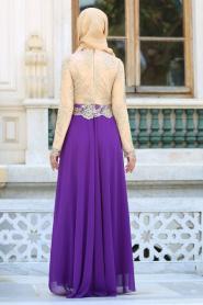 Tesettürlü Abiye Elbiseler - Üstü Dantel Detaylı Mor Abiye Elbise 76465MOR - Thumbnail