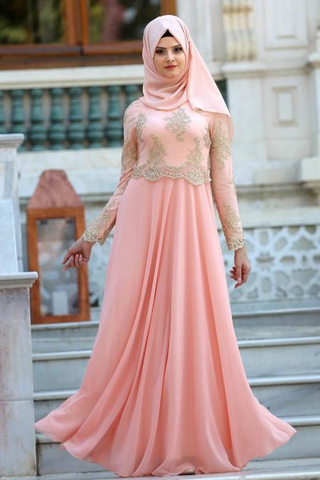 Tesettürlü Abiye Elbiseler - Üstü Dantel Detaylı Somon Abiye Elbise 76465SMN