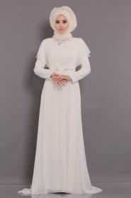 Tesettürlü Abiye Elbiseler - Yarasa Kol Ekru Tesettür Abiye Elbise 3784E - Thumbnail