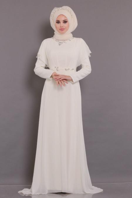 Tesettürlü Abiye Elbiseler - Yarasa Kol Ekru Tesettür Abiye Elbise 3784E