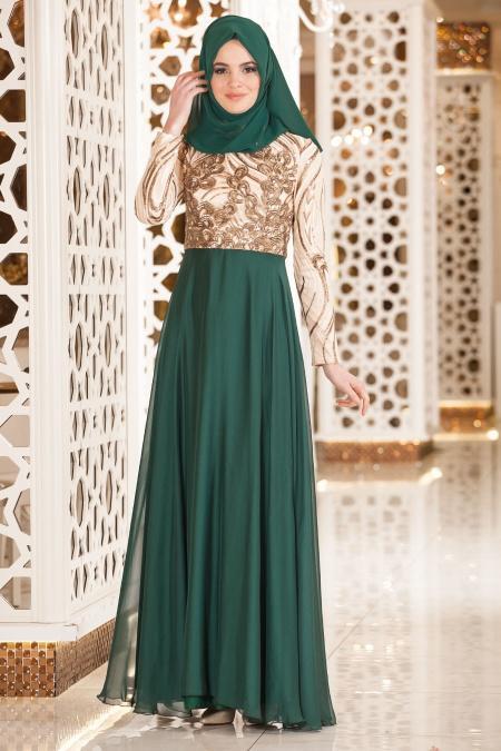 Tesettürlü Abiye Elbiseler - Yeşil Abiye Elbise