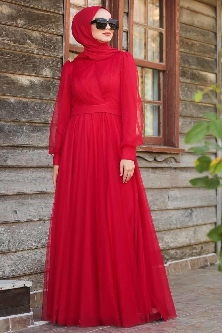 Tuay - Balon Kol Kırmızı Tesettür Abiye Elbise 30631K