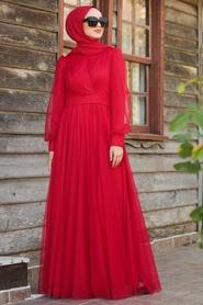 Tuay - Balon Kol Kırmızı Tesettür Abiye Elbise 30631K - Thumbnail