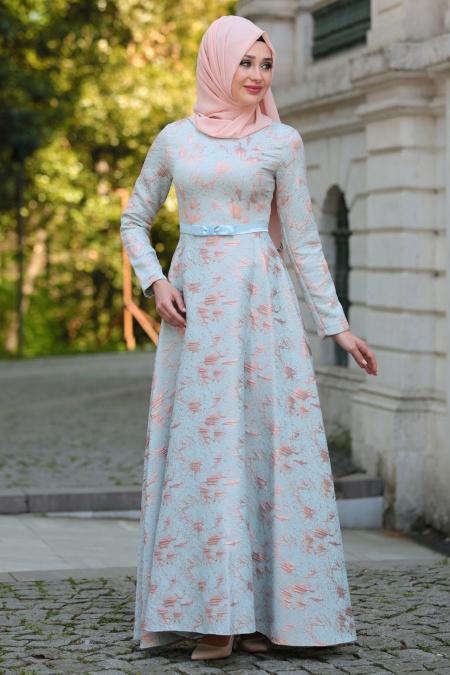 Tuay - Beli Fiyonk Detaylı Turkuaz Tesettür Abiye Elbise 1787TR