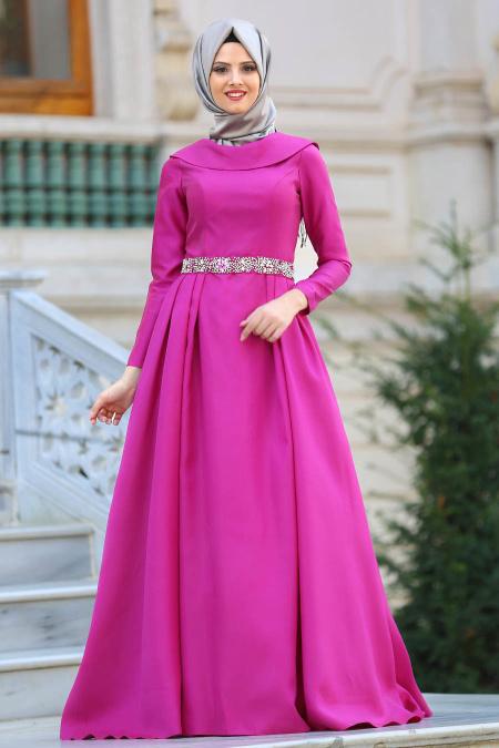Tuay - Beli Taşlı Fuşya Tesettür Abiye Elbise 2363F