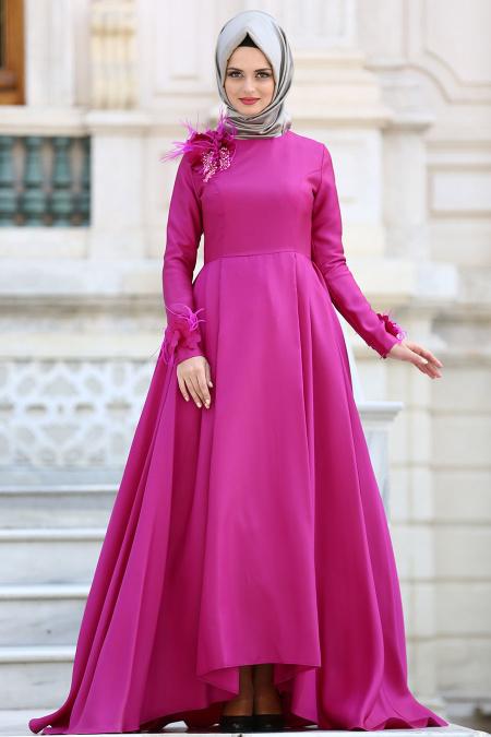 Tuay - Çiçek Detaylı Fuşya Tesettür Abiye Elbise 2492F