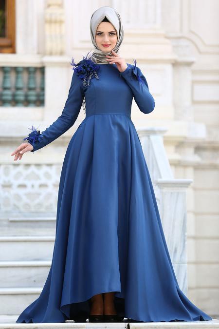 Tuay - Çiçek Detaylı Petrol Mavisi Tesettür Abiye Elbise 2492PM