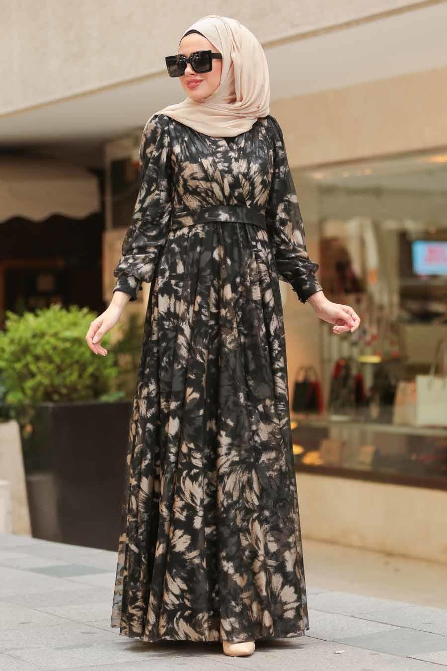Tuay - Desenli Tesettür Abiye Elbise 3063DSN
