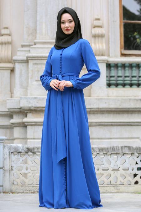 Tuay - Düğme Detaylı Saks Mavi Tesettür Elbise 2379SX