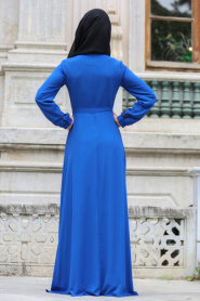 Tuay - Düğme Detaylı Saks Mavi Tesettür Elbise 2379SX - Thumbnail