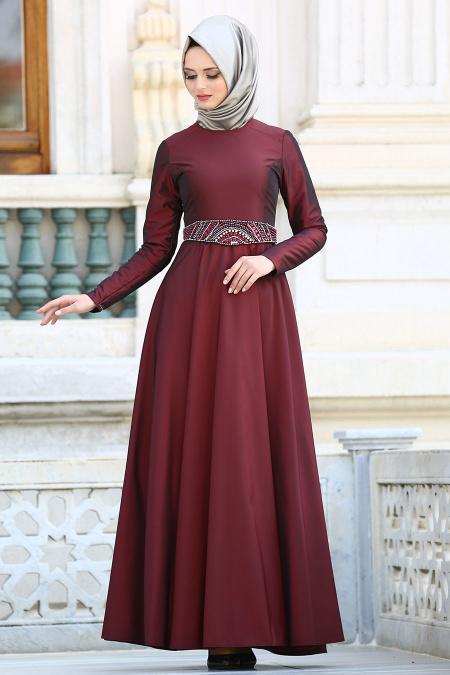 Tuay - Kemeri Taşlı Tafta Bordo Tesettür Abiye Elbise 1788BR