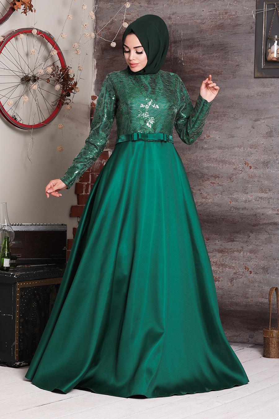 Tuay - Mikado Saten Yeşil Tesettür Abiye Elbise 2372Y