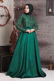 Tuay - Mikado Saten Yeşil Tesettür Abiye Elbise 2372Y - Thumbnail
