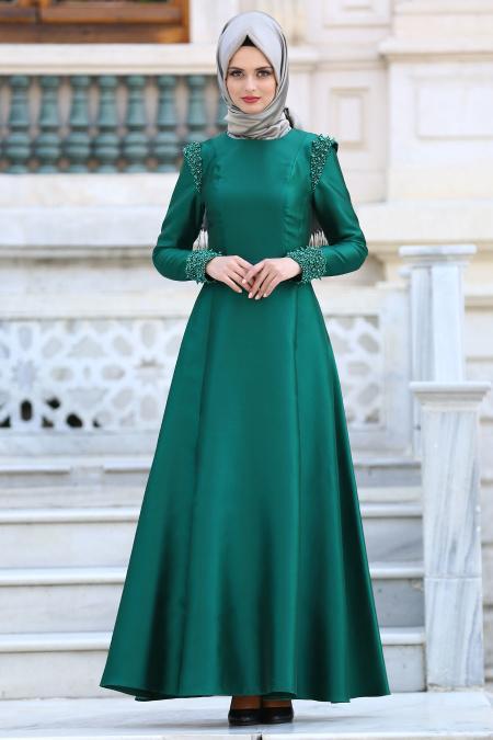 Tuay - Omuzları Boncuk Detaylı Tafta Petrol Yeşili Tesettür Abiye Elbise 1780PY