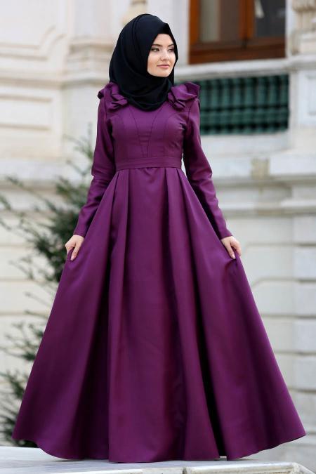 Tuay - Omuzları Büzgülü Tafta Mor Tesettür Abiye Elbise 2406MOR