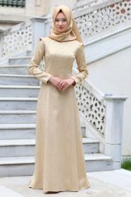 Tuay - Omuzları Zincir Detaylı Pudra Tesettür Abiye Elbise 7052PD - Thumbnail