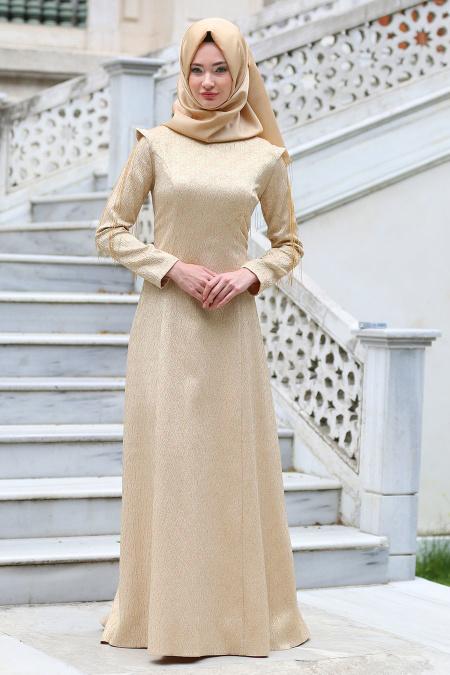 Tuay - Omuzları Zincir Detaylı Pudra Tesettür Abiye Elbise 7052PD