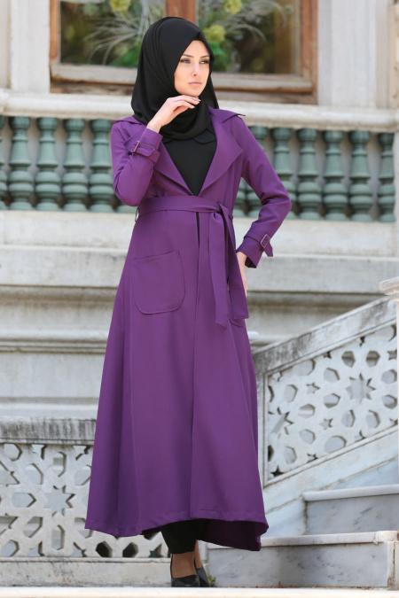 Tuay - Purple Hijab Coat 7132MOR