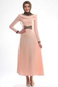 Aybqe - Leopar Detaylı Elbise 7139PD - Thumbnail