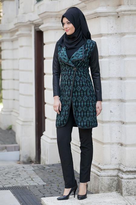 Zamane - Patterned Green Coat