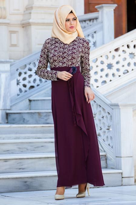 Zernişan - İşlemeli Mürdüm Elbise